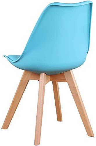 Un conjunto de cuatro silla de sala de oficina silla de tulipán de la vendimia con las piernas de roble macizo y asiento de cuero,Blue