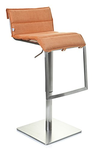 HJH Office 715502 Bar-/ Tresenhocker Zeta Edelstahl gebürstet Stoff, orange