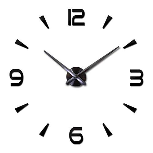 2020 Reloj de pared grande de diseño moderno 3D DIY Relojes de cuarzo Relojes de moda Acrílico Espejo Pegatinas Sala Decoración del Hogar Horloge-Negro 3, China, 37 pulgadas (60-90cm)