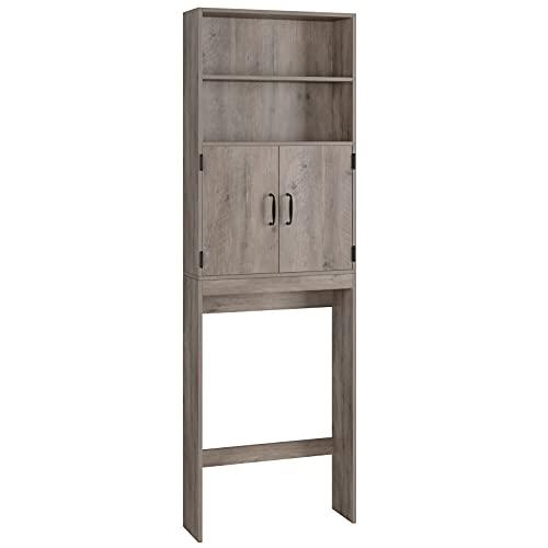 Mueble Baño sobre Inodoro Lavadora Secadora de Ropa Mueble sobre Inodoro con 2 Puertas y 2 Estantes Armario Alto Lavadora de Madera 63x20x195 cm