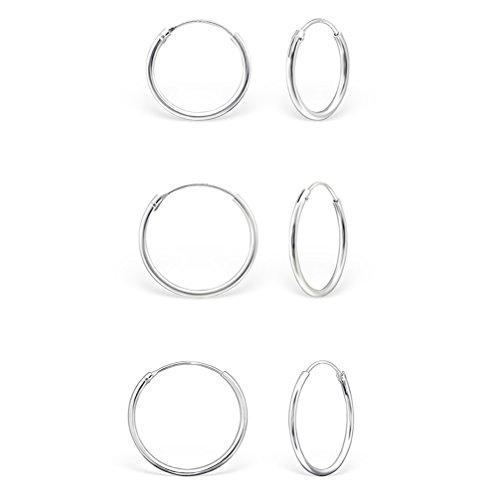 DTP Silver - Conjunto de 3 pares de Pendientes de Aro - Plata 925 - Espesor 2 mm, Diámetro 16, 18, 20 mm