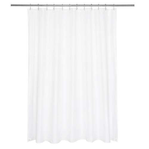 Ultimate Waterproof Long Fabric Shower Curtain or Liner 72x74, Breathable TPU & Machine Washable, Use for Bath Tub/Stall in Home and Hotel, White, 72'x74'