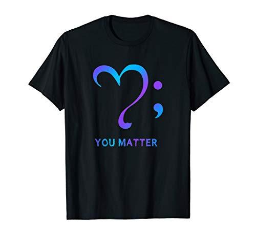 suicide prevention awareness heart semicolon t shirt
