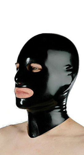 Latex hood with eye, nose, mouth openings with rear zipper (XLarge, Black)