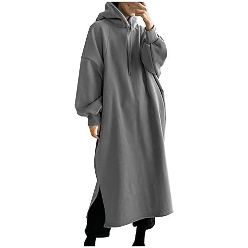 NISOWE Sudadera con capucha para mujer, color liso, informal, de manga larga, con bolsillo, gris, XXL