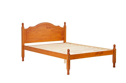 Palace Imports 100% Solid Wood Reston Panel Headboard Platform Bed, Full Size, Honey Pine Color, 12 Slats Included. Optional Trundle, Drawers, Rail Guard Sold Separately. Requires Assembly