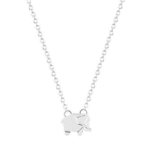 Plata o Dorado Origami elefante collar, collar de elefante, diseño geométrico, Everyday, collar simple collar, cumpleaños