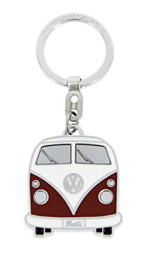 BRISA VW Collection - Volkswagen T1 Bulli Bus Schlüssel-Anhänger in Geschenkdose, Geschenk-Idee/Fan-Souvenir/Retro-Vintage-Artikel (Rot/Softemaille/Verchromt)