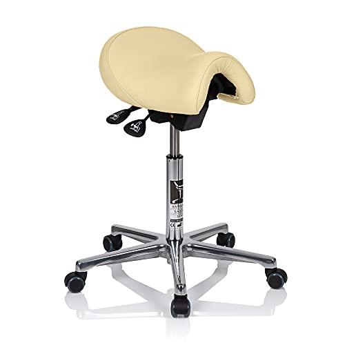 BAMBACH Silla de oficina ergonómica   Silla de escritorio original   Taburete de piel crema   Silla de escritorio ergonómica ideal