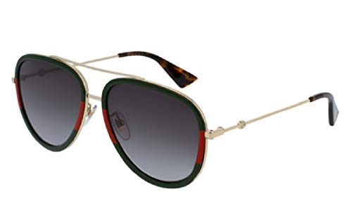 Gucci GG0062S 003 57M Gold/Green Gradient Aviator Sunglasses For Men +FREE Complimentary Eyewear Care Kit