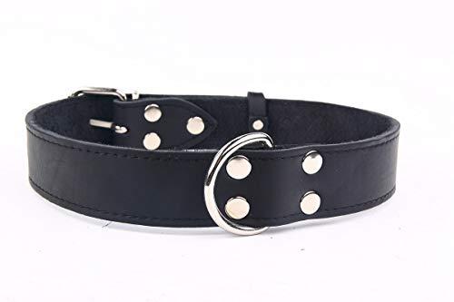 Exklusives,weiches Echt-Leder-Hunde-Halsband 911 35 mm breit x 70 cm,schwarz,Halsumfang 47,5-62cm extra breit für kräftige XXL Hunde