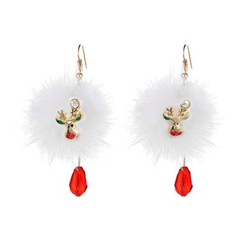 XIANRUI Europese en Amerikaanse Santa Deer Drop Oorbellen Bont Bal Rode Kristal Oor Ornamenten