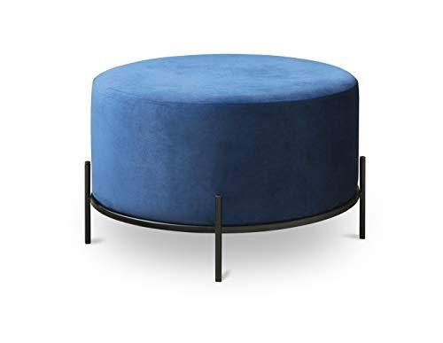 LIFA LIVING Runder Samt Pouf Blau für den Innenbereich, Vielseitiger Samt Hocker mit schwarzer Metallbasis, Sitzhocker Couchtisch Beistelltisch, bis zu 100 kg Traglast, 35 x Ø 55 cm