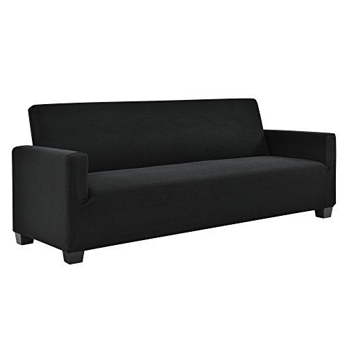 [neu.haus] 3-Sitzer Sofabezug für Breite 140-210cm Schwarz Schonbezug Sesselüberzug Sofahusse