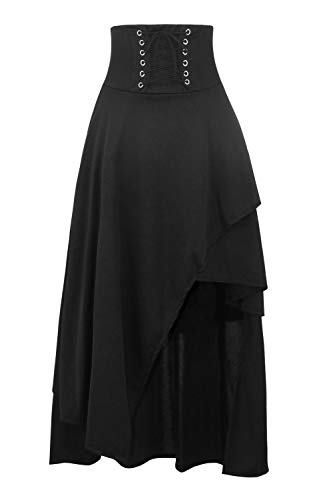 KILLREAL Women's Medieval Renaissance Asymmetrical Long Skirt Steampunk Gothic Lolita Hi Low Skirt with Lace up Black X-Large