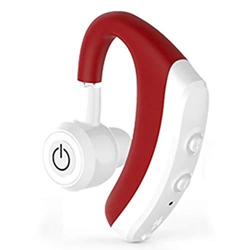 XZJJZ Auriculares Bluetooth de larga espera montados en la oreja de transmisión de voz coinciden automáticamente, adecuados para conducción al aire libre y fitness (color: rojo)