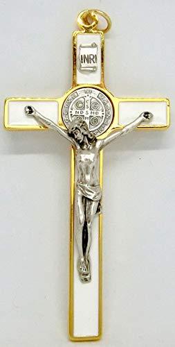 GTBITALY 10.389.11SS Cruz de San Benito Blanco esmaltado a Mano Tamaño 12cm Dorado con Anillo esorcista esorcismo