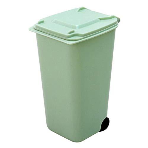 Mini papeleras de plástico para escritorio con tapa Escritorio de basura para limpieza del hogar práctico centro comercial Tijeras Lápiz Suministros de oficina-Papelera verde, ESPAÑA