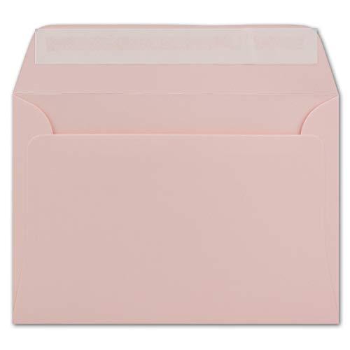 100 DIN C6 Brief-Umschläge Rosa - 11,4 x 16,2 cm - 120 g/m² Haftklebung Standard Brief-Kuverts für Taufe & Einladungen von Ihrem Glüxx-Agent