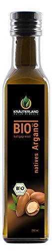 Kräuterland - Bio Arganöl nativ 250ml - 100% rein und kaltgepresst aus Marokko - Pflege für Haut, Haare, Anti-Aging - auch als Speiseöl(250ml)