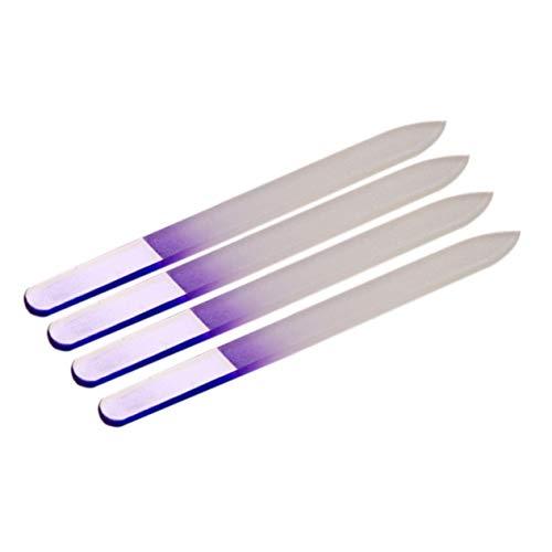 Goldyqin Fichier de manucure en verre cristal violet léger à la mode Nail Art décore l'outil 4 stks/Set pour les ongles naturels et acryliques