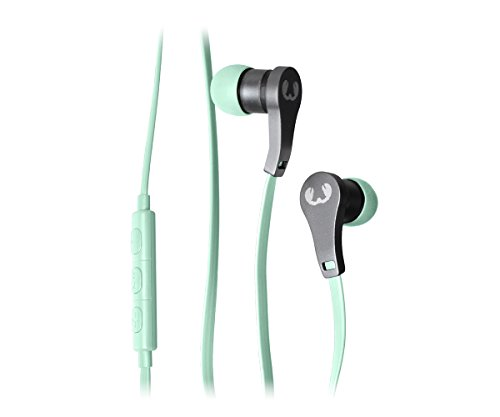 Fresh 'n Rebel Lace Earbuds, Auricolari In-Ear con Cavo, Telecomando e Microfono, Cavo piatto, Riduzione del Rumore, Compatibile iPhone e Android, Verde Peppermint