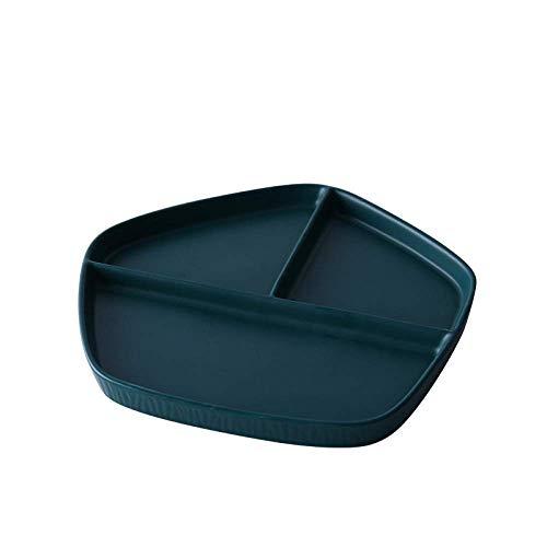 LIZANAN Cocina Cerámica GYHJGJapanese-Estilo de cuadrícula Desayuno Home Plate arroz Plato de Carne Occidental Plato Sencillo Postre Placa de la Fruta 21,5 * 20 * 2cm vajilla