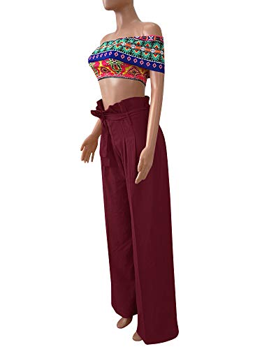 Ybenlow Womens High Waisted Palazzo Pants Wide Leg Stretch Trouser Pant Belted with Pockets Burgundy