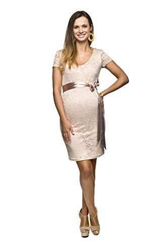 Torelle Damen Umstandskleid Brautkleid für Schwangere, Modell: LACE, Kurzarm, Hellrosa, S