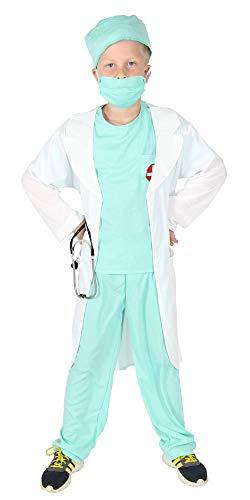 Foxxeo Arzt Kostüm für Kinder mit Arztkittel Ärztin Kinderarzt Kinderärztin Jungen Mädchen Fasching Karneval Größe 134-140