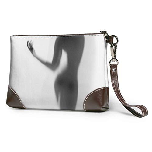 XCNGG Weiche wasserdichte Damen Leder Wristlet diffuse Frau Silhouette Hände Clutch Bag Frauen mit Reißverschluss für Frauen Mädchen
