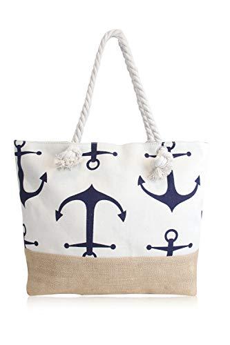 irisaa Damen XXL Shopper Strandtasche mit breiter Kordel-Griff Anker Marine-Stil | Schultertasche mit Reißverschluss aus Baumwolle Canvas und Jutestoff, Farbe-name:Anker-WG