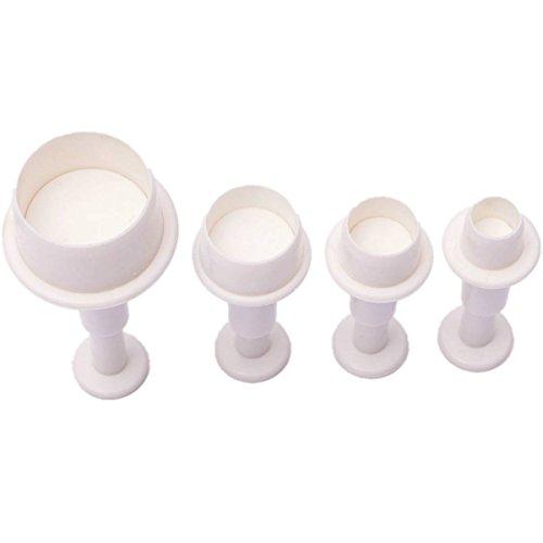Kingso Lot de 4 moules ronds, cercles à gâteau, biscuit fondant, cutter moule, piston pour décoration de gâteaux