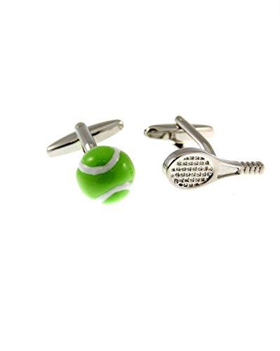 Zac's Alter Ego Boutons de manchette 3D balle de tennis verte et raquette argentée dans une boîte cadeau