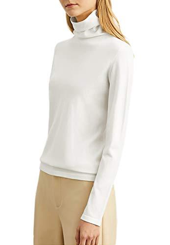 TAIPOVE Turtle Neck Top for Women White Long Sleeve Shirt Mock Turtleneck Slim Pullover Tops