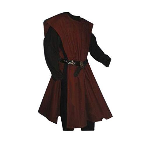 hibote Herren Mittelalter Tunika Seitliche Öffnung Einfarbig Kittel Renaissance Viktorianisch Wikinger Pirat Kleidung Halloween Cosplay Kostüm (Ohne Gürtel)