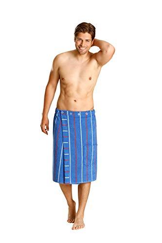 Betz Herren Saunakilt Sauna Kilt 100% Baumwolle Regulierbar der Weite durch Knöpfe und Gummizug Farbe blau gestreift