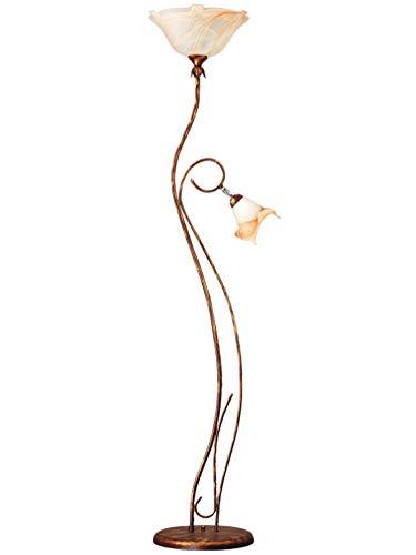 Lampex. Sanki Klassische elegante Stehlampe, zwei Lichtquellen verläss rustkale Retro glas/stahl ambra
