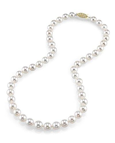 14 K oro 8-10 milímetros Akoya japonés cultivadas blancas - collar de perlas de calidad AAA, 45,72 cm de longitud de la princesa
