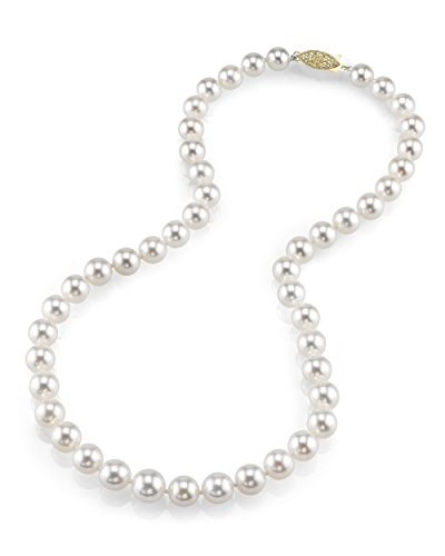 14 k Gold 8 10 mm di perle giapponesi Akoya AAA qualità, collana con ciondolo da 18 ', motivo: principesse e Oro giallo, colore: oro/bianco, cod. 1