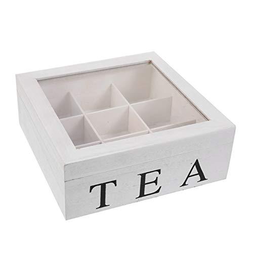 Gerald Madge Teebox aus Holz weiß mit 9 Fächern Teebox für Teebeutel Aufbewahrungsbox mit Sichtfenster im Deckel zur Erhaltung des Aromas für intensiven Tee