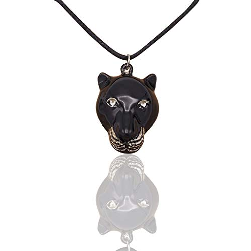 Quan Jewelry Black Panther Head Wakanda King Superhero Inspired Necklace, Graduation Gifts for Marines Army Airfoce, Cosplay Jewelry T'Challa Collectibles Gifts for Him with Inspirational Quote on Greeting Card - 100% Handmade