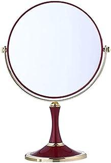 Makeup Mirror Desktop Makeup Mirror Large Double Sided Mirror European Fashion Princess Dressing Mirror Red Wedding Mirror (Size : Round) (Color : Round) (Color : Round)