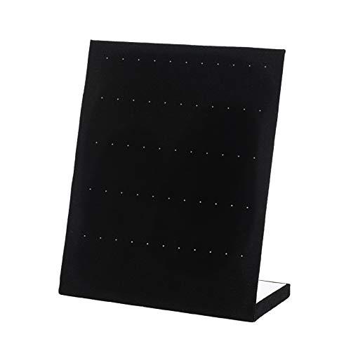 MEZOOM Expositor de Pendientes Negro Soporte de Terciopelo para Joyas en Forma de L Organizador de Terciopelo para Mostrar Arete Clip de Oreja Joyería 10 x 8 x 4 Pulgadas