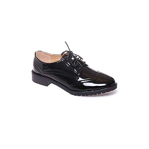 Derbies femme noires vernies semelle interieure cuir baskets elegantes talon carre a motifs - Noir - Taille 38 EU