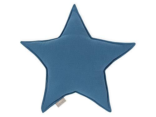 KraftKids Sternkissen Musselin blau, 45 cm großes Kuschelkissen, Deko-Kissen für das Kinder-Zimmer