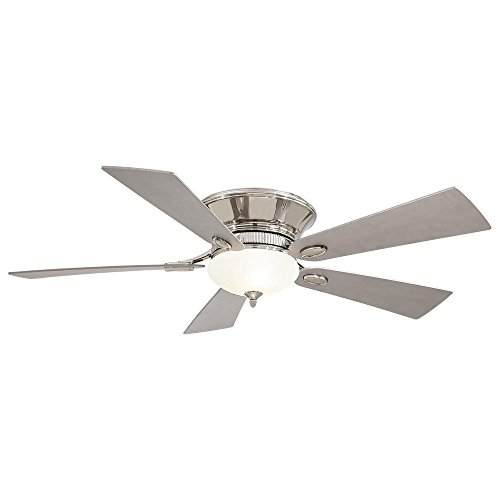 Minka Aire F711-PN Delano - 52' Flush Mount Ceiling Fan, Polished Nickel Finish with Silver Blade Finish with White Frosted Glass