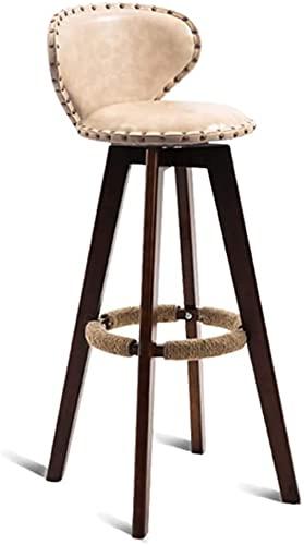 Chilequano Taburetes de barra de altura moderna con cuero asiento tapizado y patas de madera Pasado de reposapiés, silla de bartes giratorios con espalda, Cafetería Cafetería Sillas de comedor Muebles