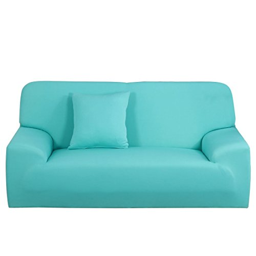 N/D Funda de sofá extensible funda de sofá de causea, lavable a máquina, elegante protector de muebles con una funda de cojín para sofá de 4 plazas, color azul claro