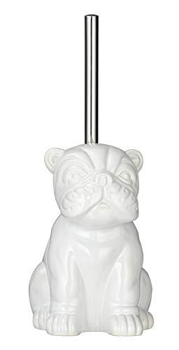 Wenko Bulldog - Escobillero de baño con escobilla, cerámica, 15 x 69 x 20 cm, Color Blanco